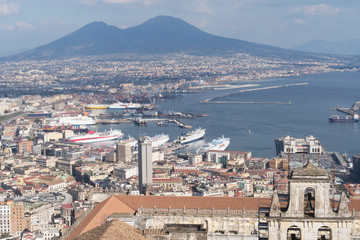 Naples skyline with Vesuvius