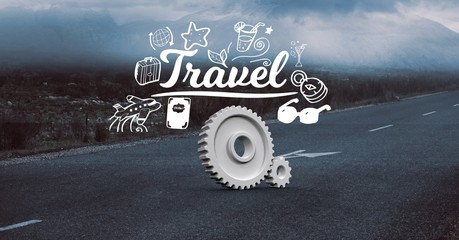 Digital composite image of gears with travel text on road