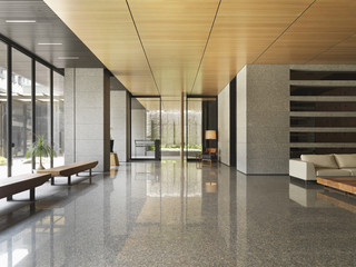 Bright lobby of apartment building