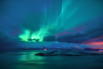 Photo sur Aluminium Aurore polaire Aurora borealis the northern lights