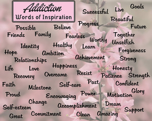 A background of pink flowers with inspiring words of drug addiction.