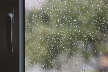 Raindrops on windows glass