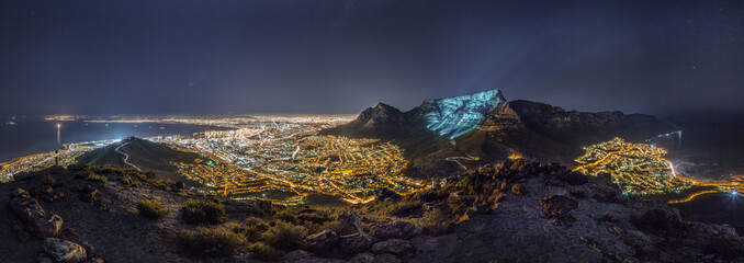A panoramic view over Cape Town from the summit of Lion's Head