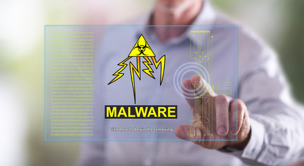 Man touching a malware concept on a touch screen