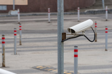 CCTV security camera outdoor at car park