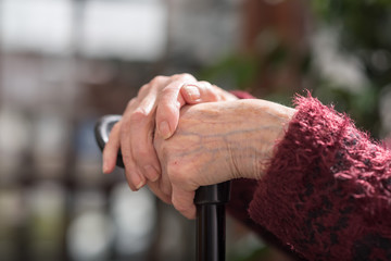 Hands of an old person on cane