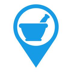 Icono plano localizacion mortero de cocina azul