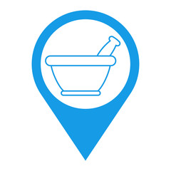 Icono plano localizacion mortero de cocina lineal azul