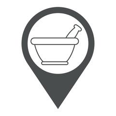 Icono plano localizacion mortero de cocina lineal gris