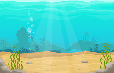 Poster Turkoois Underwater world in sea vector cartoon landscape