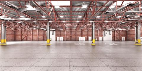 Empty warehouse. Metal structure. 3d illustration