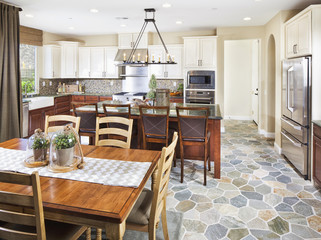 Open plan of domestic kitchen and dining area