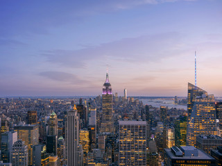 New York City skyline with urban skyscrapers at sunset
