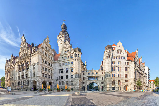 View on New town hall (Neues Rathaus) from Burgplatz square in Leipzig, Saxony, Germany