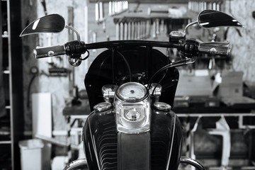 Old style motorbike being renovated