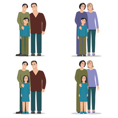 Set homosexual family, men and boy, men and girl, women and boy, women and girl