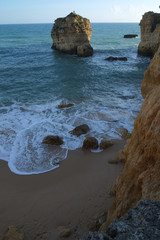 Sao Rafael Beach in Albufeira. A popular travel and vacations destination. Algarve, Portugal
