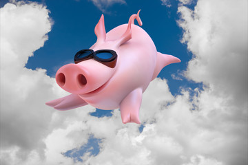 Funny sky diving flying piggies 3d illustration