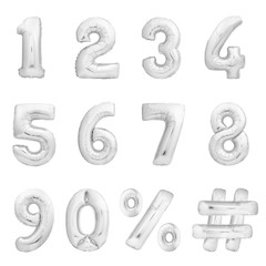Silver chrome numbers set, hashtag, percent sing made of golden inflatable balloons