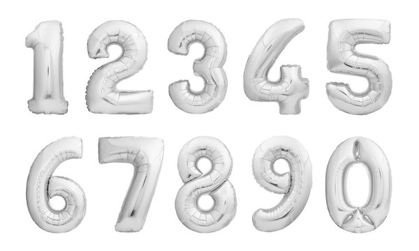 Numbers set made of silver inflatable balloons