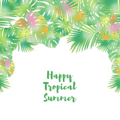 Summer card with palm leaves on a white background.Tropical design.