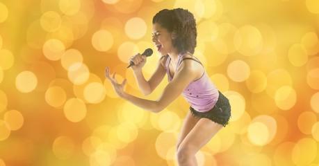 Music artist singing over bokeh