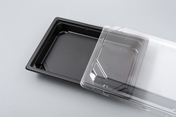 Plastic box with transparent cover for food