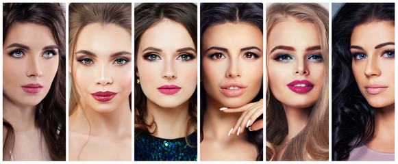 Beautiful Women with Perfect Makeup. Beauty Collage, Cute Faces