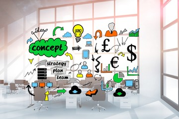 Digital composite image of business graphics in office