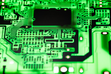 Close up of Electronic Circuits in Technology on   Mainboard background (Main board,cpu motherboard,logic board,system board or mobo)