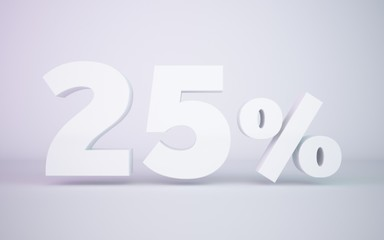3D rendering white 25 percentage isolated white background