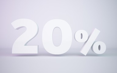 3D rendering white 20 percentage isolated white background