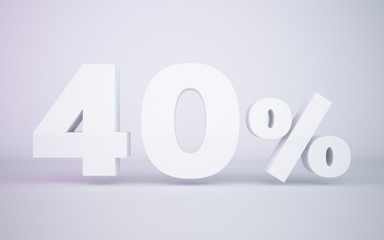 3D rendering white 40 percentage isolated white background