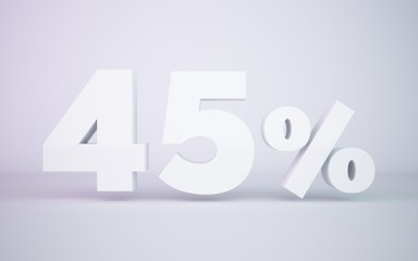 3D rendering white 45 percentage isolated white background