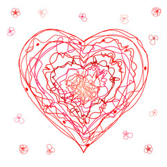 The children's drawing heart for a Mother's Day, Valentine's Day or weddings