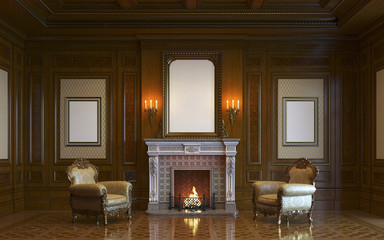 A classic interior with wood paneling and fireplace. 3d render.