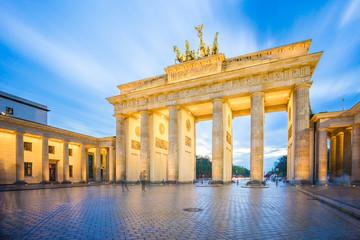 The long exposure image of Brandenburg Gate in Berlin city, Germany