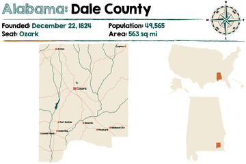 Large and detailed map of Dale County in Alabama