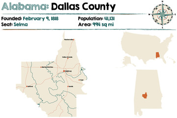 Large and detailed map of Dallas County in Alabama