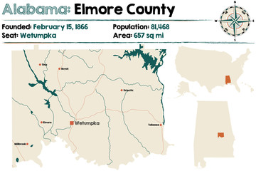 Large and detailed map of Elmore County in Alabama