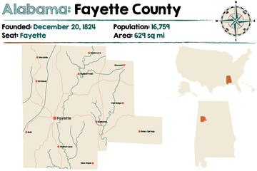 Large and detailed map of Fayette County in Alabama