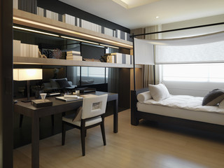 Modern interior with daybed and desk