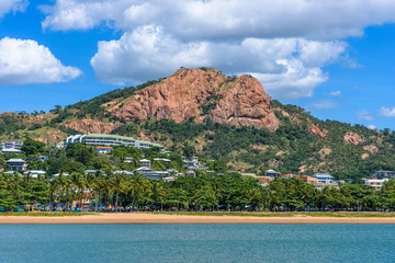 A view from the water of Castle Hill in the center of Townsville, Queensland, Australia