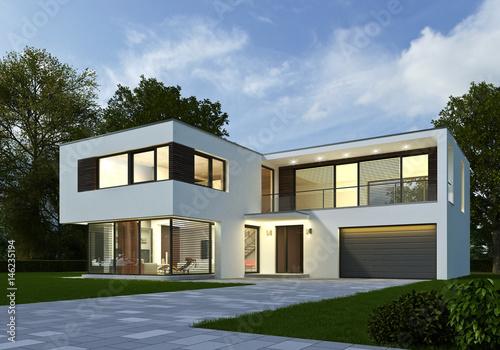 haus kubus 3 am abend stockfotos und lizenzfreie bilder auf bild 146235194. Black Bedroom Furniture Sets. Home Design Ideas