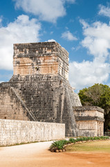 Temple of the Jaguar is one of the ancient buildings at the Great Ballcourt in  Chichen Itza in Mexico.