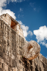 Stone Hoop at the Great Ball Court at Chichen Itza in Yucatan peninsula, Mexico.