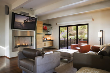 Cozy Modern Living Room with Candle Fireplace