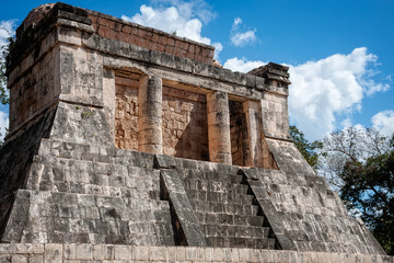 Loggia at the Great Ballcourt in Chichen Itza, Mexico.