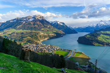 Mountains at lake Lucern and Village Brunnen. View from Rigi Switzerland