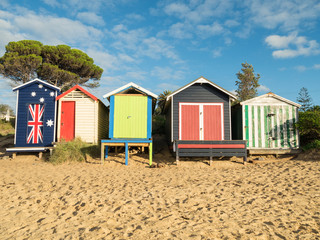 Colourful bathing boxes in Mornington on the Mornington Peninsula
